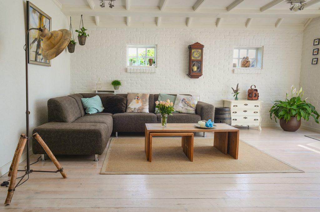 salon avec chauffage au sol